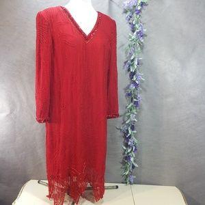 Niteline Vintage Silk Beaded Dress SZ 10